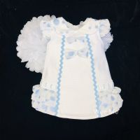 * Baby Girl White Spanish Dress with Blue details